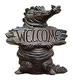 ERZHUI Decoraciones de jardín Adornos de jardín al aire libre Resina al aire libre Esculturas de cocodrilo Tarjeta de bienvenida Decoración de jardín Animales al aire libre Ventana Display