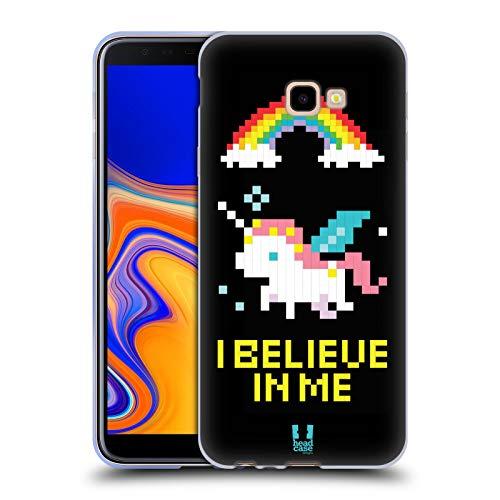 Head Case Designs Unicorno Pop Trend Cover in Morbido Gel e Sfondo di Design Abbinato Compatibile con Samsung Galaxy J4+ / Plus