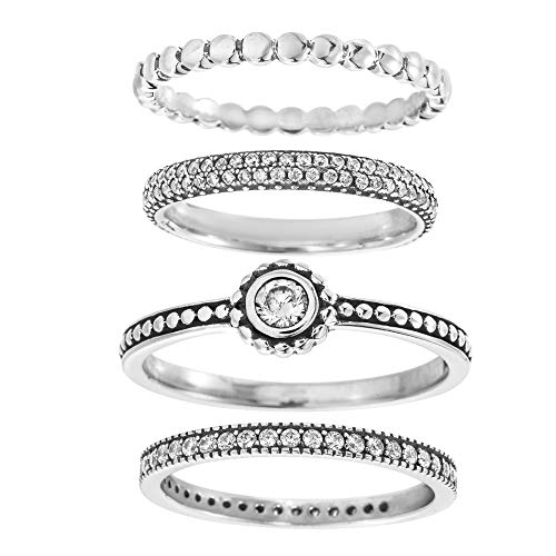Willowbird Oxidized Sterling Silver Multi-Pack Cubic Zirconia Stackable Eternity Ring for Women Set (Round Size 11)