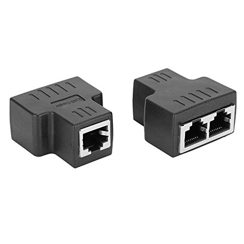 T angxi Adattatore Splitter interfaccia Femmina RJ45 2PC, 1-in 2-out RJ45 interfaccia Femmina connettore LAN Extender Splitter per Cavo Internet, Adattatore Splitter RJ45 per TV Router PC ADSL(Nero)