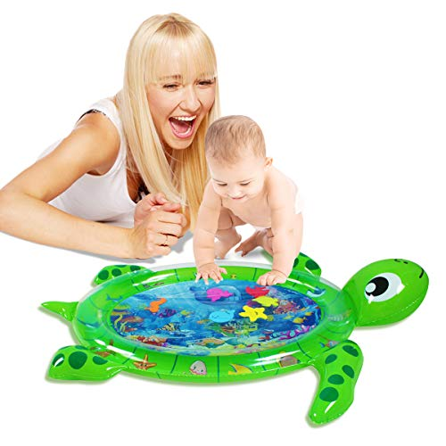 Shangle-sunshine Tummy Time Baby Water Play Mat Turtle Shape Infants & Toddlers, Inflatable Play Mat Toy,Tummy Water Mat for Baby Sensory Development and Stimulation Growth.BPA Free. (Green Turtle)