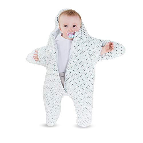 all Kids United Kinder-Schlafsack aus Baumwolle Strampler Fußsack, Kinderwagen Pucksack, Baby-Schlafsack Wintersack für Mädchen und Jungen 80 x 74 - Seestern