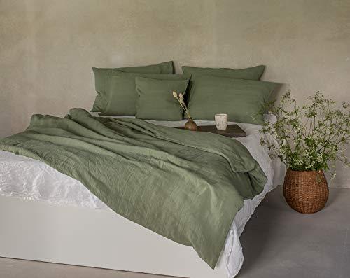 Ger3as Leinen Bettwäsche Set 100% Natur Leinen Stonewashed, Naturfaser Leinen, mit Hotelverschluss (Dunkelgrün, 135 x 200 cm, 40 x 80 cm