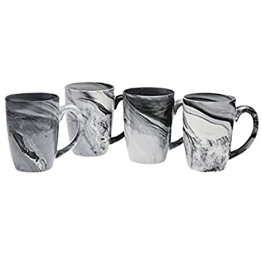 Culver 16-Ounce Palermo Ceramic Mug Set of 4 (White and Black Olive Marbleized)