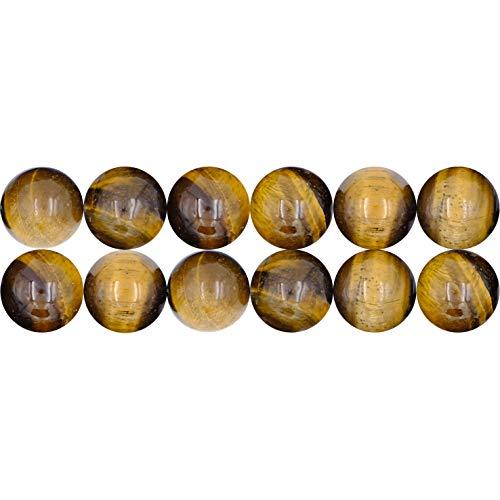 SEVEN9 gebohrte Tigeraugen Perlen zum Basteln und zur Schmuckherstellung - 38 cm Strang, 6 mm Ø Edelsteinperle- Braun Schimmernde Halbedelsteine mit Loch zum Auffädeln - Echte Natursteinperlen