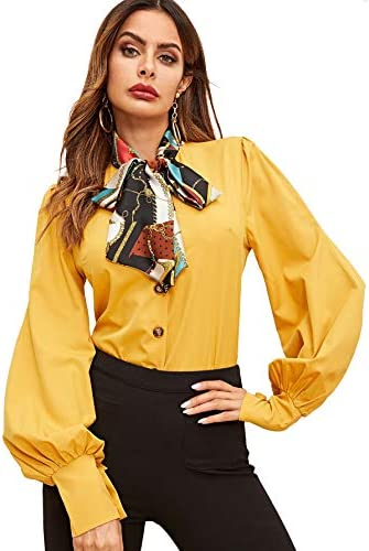 SheIn Women s Lantern Long Sleeve Bow Tie Neck Button Up Work Blouses Shirt Top Small Drak Yellow product image