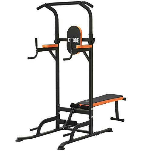 Kicode Power Tower with Bench Pull Up Bar Dip Station, Home Gym Height Adjustable Exercise Tower Dip Stand, Strength Training Multi-Function Fitness Equipment