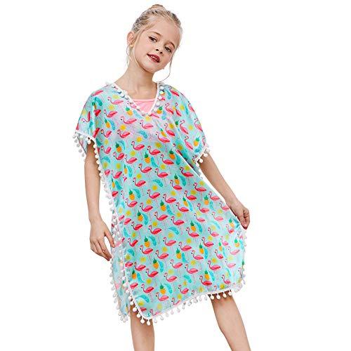 MHJY Strandkleid for Mädchen V-Ausschnitt Quaste Strandponcho Sommer Mädchen Bikini Poncho Bikini Cover Up mit Pompon für 3-11 Jahre alt