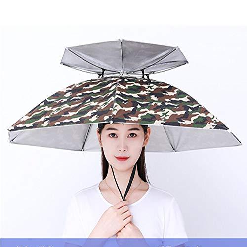 AZSTAR Sombreros Paraguas - Plegable Protección UV Impermeable de Doble Capa Sun Rain Headwear Gorra de Paraguas con 7 Varillas Metbal para Pesca, Playa, Golf, Jardinería, Fotografía