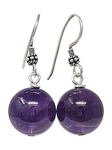TreasureBay Stunning Handmade Natural Gemstone Earrings for Women Made with Sterling Silver (16mm Amethyst)