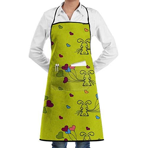 DayToy Schürze Kochschürze Küchenschürze Grillschürze Kleine Häschen und Luftballons Nahtlose MusterSchürze zum Backen Garten Restaurant Grill mit 2 Taschen 20,5 x 28,4 Zoll