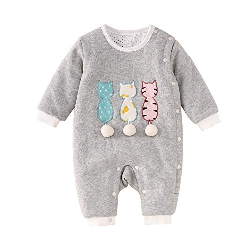 pureborn Baby Quilted Winter Jumpsuit Snowsuit Cute Kitten Grey 9-12 Months