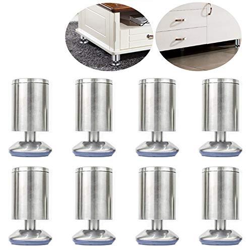 Patas para Muebles Metal Cocina de Goma Patas de Mesa de Escritorio Muebles Patas de Sofá Patas para Muebles Fácil de Instalar Adecuado Pies de Mueble Ajustables de Acero Inoxidable Adecuado(8 Piezas)