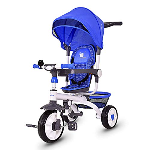 Product Image of the Costzon Baby Tricycle, 4 in 1 Children's Smart Trike w/Removable Push Handle,...