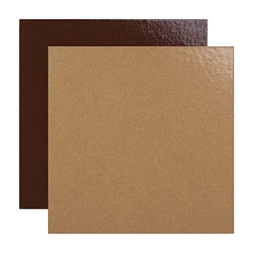 Juego de 10 soportes de pastel cuadrados en cajas de colores, con Tallas de su elección (Chocolate/Praliné, 22 cm)