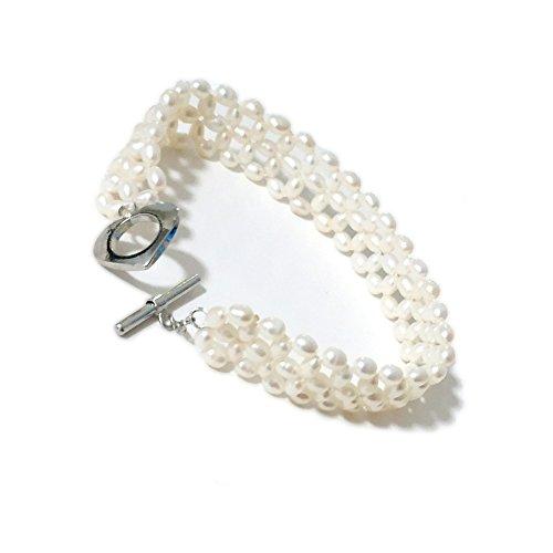 regalo per la festa della mamma ELAINZ HEART La Blocco Incrociato bracciali di perle vera bianche bangle design unico per donna,20cm con perle ovali bianche coltivate in acqua dolce 4-5mm