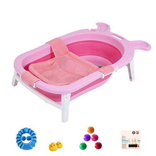 GY opvouwbare baby douchebak, draagbaar bad, grote plastic kan zitten en liggen, pasgeboren kind thuis bad met drijvende pad roze, 59 * 48,5 * 21cm