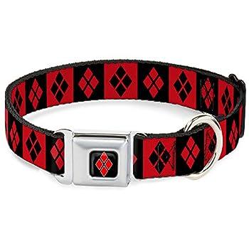 Buckle-Down Seatbelt Buckle Dog Collar - Harley Quinn Diamond Blocks Red/Black Black/Red - 1  Wide - Fits 15-26  Neck - Large