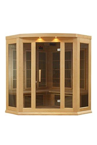 Maxxus 3 Per Low EMF FAR Infrared Carbon Corner Canadian Hemlock Sauna