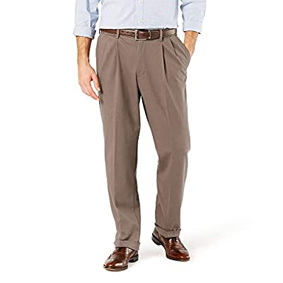 Dockers Men's Relaxed Fit Comfort Khaki Cuffed Pants-Pleated D4, Dark Pebble (Stretch), 38W x 30L from Dockers Men's Bottoms