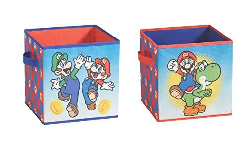 Idea Nuova Nintendo Super Mario 2 Piece Collapsible Storage Cubes,...