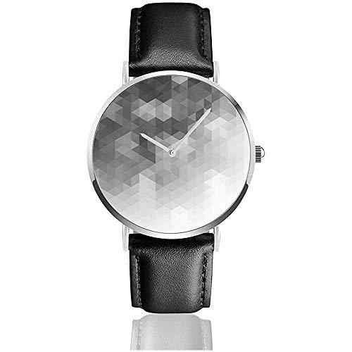 Dreieckiges Muster Geometrisches Dekor Neue Herren Retro Schwarz PU Lederband Armbanduhren