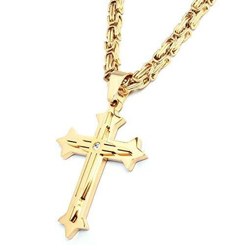 Herren Edelstahl Halskette Kreuz Anhänger silber gold schwarz + 60cm Königskette Männer Geschenk (Gold)