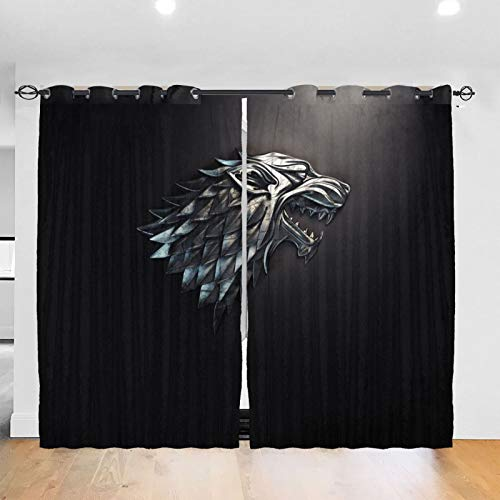 RVEVHGAHHA Game Thrones TV-Vorhang, Verdunkelung, wärmeisoliert, schalldicht, Heimdekoration, für Wohnzimmer, Kinderzimmer, 2 Paneele, 132 x 182 cm
