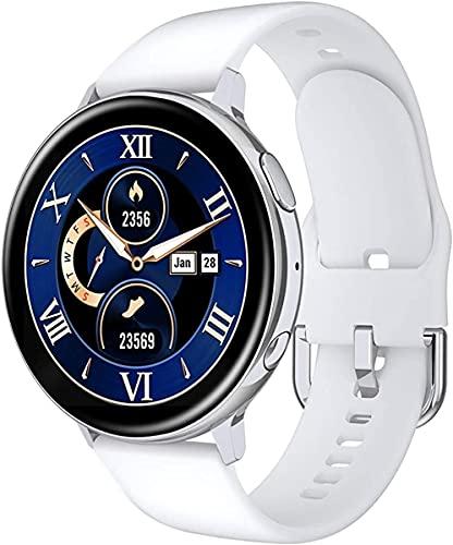 QHG Pantalla Redonda Completa Rastreador de Salud Multi Dials Smart Reloj Tarifa cardíaca Presión Arterial Monitor de la presión inalámbrica Carga de Fitness Tracker (Color : White)