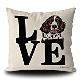 MALIHONG Love Dog Throw Pillow Cover Funny Peeking Dog English Springer Spaniel Throw Cushion Cover for Sofa Bed Home Decor 18x18 Inch