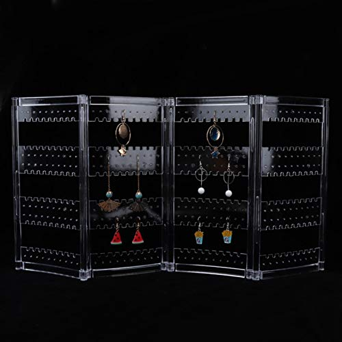 Expositor para joyas, pendientes, collar, transparente, para varias joyas y aspecto hermoso [4 paneles], soporte para joyas