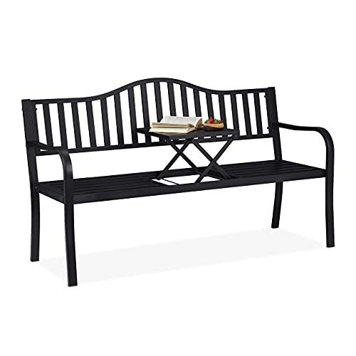 Relaxdays Panchina da Giardino con Tavolino Pieghevole, a 3 Posti, Resistente, in Acciaio, HLP 89 x150x 58,5 cm, Nero