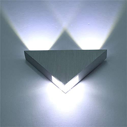 Iluminación LED interior aluminio 3W lámpara de pared triángulo forma dormitorio moderno junto a la luz para la decoración del hogar Silver