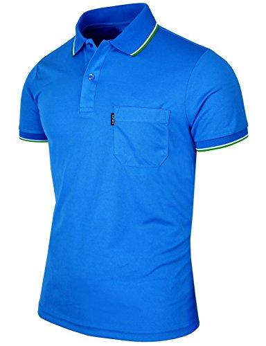 BCPOLO Men's Polo Shirt Dir Fit Solid Polo Shirt Athletic Short Sleeve Various Polo-Blue-S