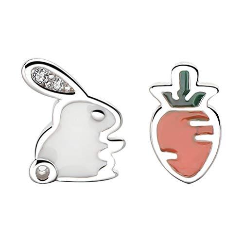 SOIMISS 1 par de brincos assimétricos de coelho e cenoura brincos delicados brincos de páscoa brincos de joias decoração para meninas