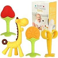 4-Pack Fu BPA Free Infant Freezer Safe Toothbrushes Fruit Giraffe Teethers
