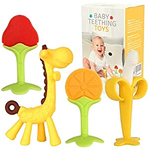 Safe Material - 100% food grade silicone, Non-Toxic, BPA free. The soft and flexible material decreases risk of mouth injury. Bright Colors Teether Set - Comes with 4 toys in defferent colors and shapes. 1 giraffe teether, 1 banana toothbrushes teeth...