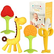 Baby Teething Toys for Newborn (4-Pack) Freezer Safe BPA Free Infant and Toddler Silicone Banana Toothbrushes Fruit Giraffe Teethers Soothe Babies Gums Set with Storage Case