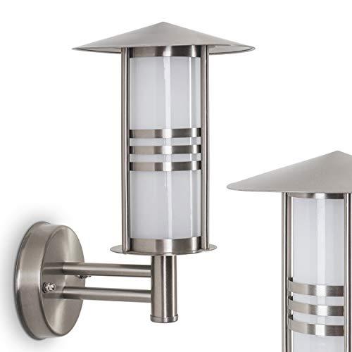 Buitenwandlamp Forli, wandlamp van roestvrij staal met matglazen ruiten, wandlamp met E27 fitting, max. 40 Watt, 32 cm hoogte, moderne buitenlamp voor terras en binnenplaats, geschikt voor LED-lampen