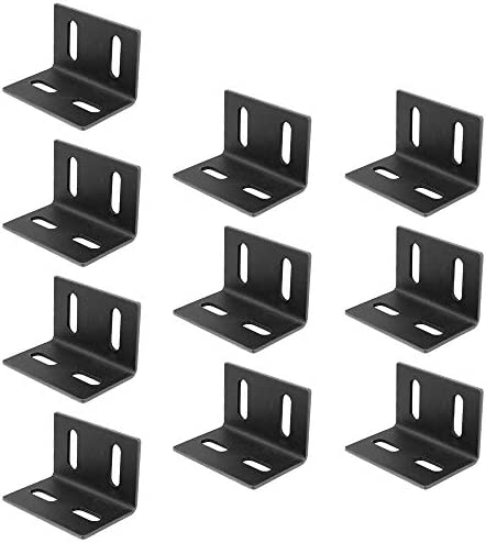 10 Pack Black Adjustable Corner Braces 3 2 2 Inches Steel L Shape 93 Degree Right Angle Brackets product image