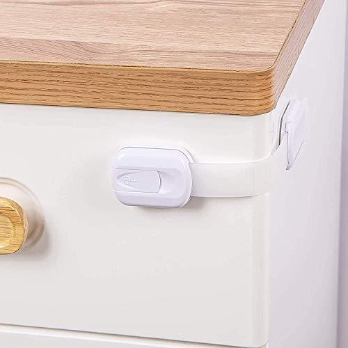 Cerraduras de seguridad para niños Cerraduras de gabinete a prueba de taladros con adhesivo, cierres ajustables para armario, horno, cajones, armario, nevera, armario, puerta, ventana, inodoro