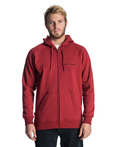 Rip Curl Authentic Fleece Hombre,Sweatjacket, Sudadera con Capucha y Cremallera,Red,XL