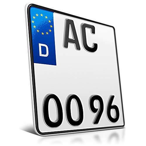 schildEVO 1 Motorrad Kennzeichen | 180 x 200 mm | Motorradkennzeichen Saison | Roller | DHL-Versand