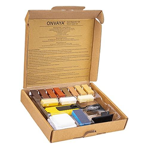 ONVAYA® Juego de reparación de madera, kit de reparación para laminado, parqué, muebles de madera, incluye cera de reparación, varilla de combustión, espátula, papel de lija