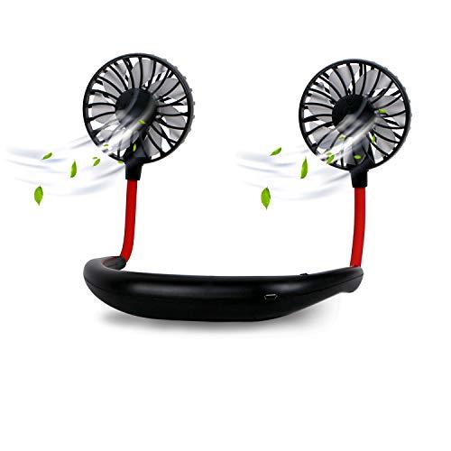 Dericam Mini-Lüfter, Drahtloser Sport-Lüfter, Schweißfester USB-Lüfter,Halslüfter,360-Grad-Drehung/DREI-Gang-Einstellung,Geeignet für Radfahren im Freien,Büro im Innenbereich