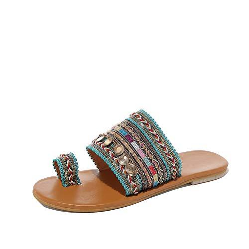 Charmg flats sandals Bohemian Women Bling Sequins Slides Flat Summer Shoes Ladies Girls Gladiator Slippers,Beige,5