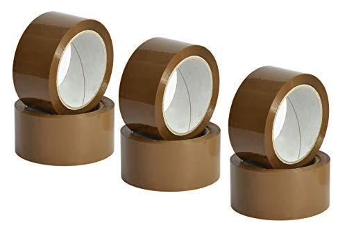 Nastro Marrone Adesivo Imballaggio per pacchi, Scocht da imballo, Scocht Avana da pacchi, 50mm x 66m - 6 rotoli