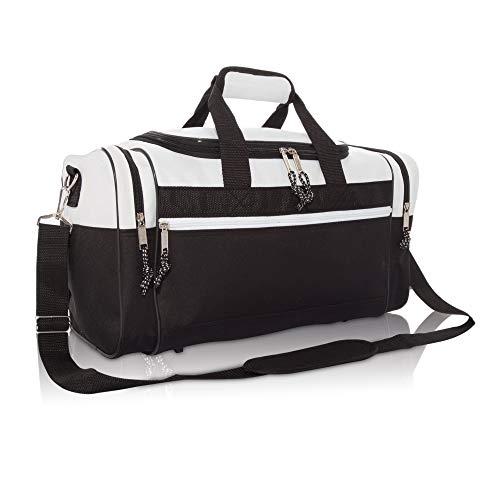 Dalix 17'en blanco Duffle Bag Duffel Bolsa de deporte tamaño de viaje resistente bolsa de deporte - DF-005-White, Blanco
