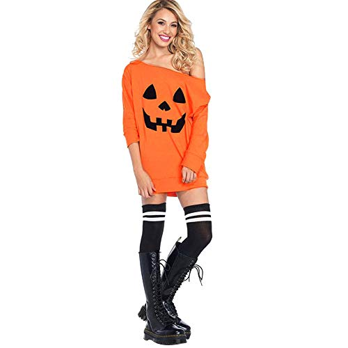 MERICAL Damen Cold Shoulder Kürbis Kostüm Kleid Halloween Maske Kostüm(EU:40/CN:M,Orange)