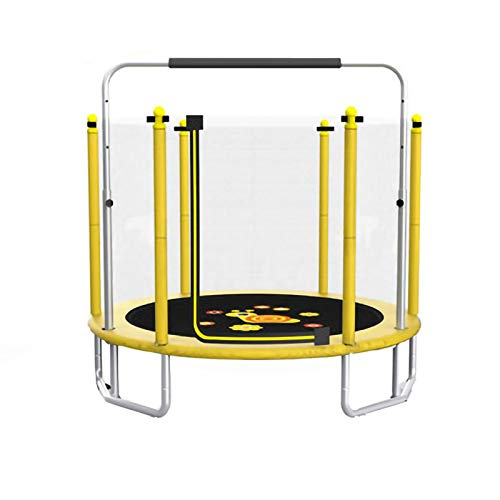 Round Trampoline with Horizontal Bar and Safety Fence, Bungee Rebounder In Sports Fitness (Color : Yellow)